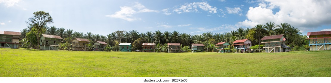 Traditional palm worker houses in Matapalo, in the south of Costa Rica 2013