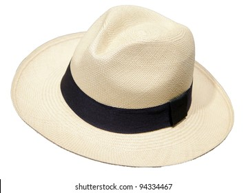 87e47490 traditional Panama Hat is isolated on a white background