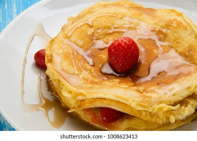 Traditional pancake and strawberry