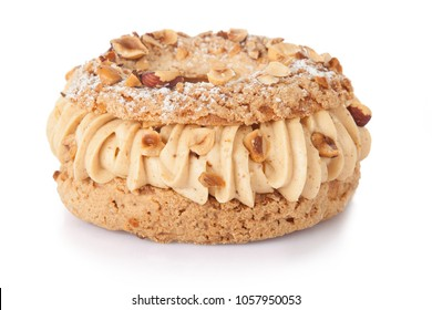 traditional paris brest french pastry cake concfectioner isolated in studio on white background