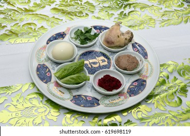 Traditional Passover Seder plate with six items which have significance to the retelling of the story of Passover - the exodus from Egypt, which is the focus of this ritual meal.