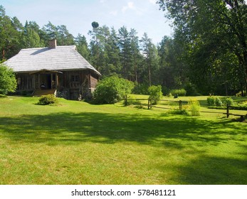 Traditional pastoral buildings outside of Riga in Latvia.