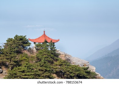 traditional pavilion on mount lushan, place of watch the cloud and mist, China
