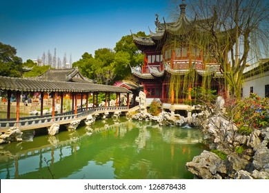 Traditional pavilions in Yuyuan Gardens, Shanghai, China
