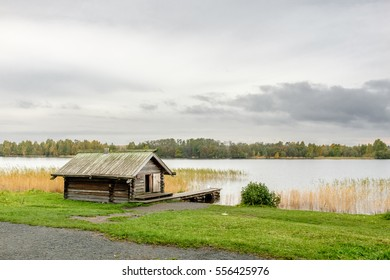Traditional peasant wooden sauna house at Onega lake, Kizhi, UNESCO world heritage site, Karelia, Russian north-west