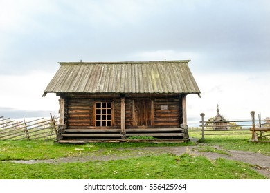 Traditional peasant wooden warehouse at Onega lake, Kizhi, UNESCO world heritage site, Karelia, Russian north-west