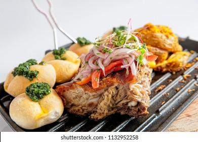 Traditional Peruvian Meal Called Chicharron de Panceta de Cerdo