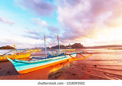 Traditional Philippino boat in the sea, Palawan island, Philippines