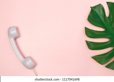 Traditional phone receiver and Monstera palm leaf on pastel pink background, with copy space.
