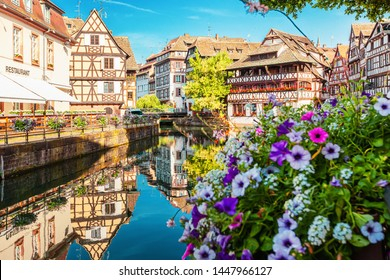Traditional picturesque half-timbered houses in La Petite France, Strasbourg, Alsace, France