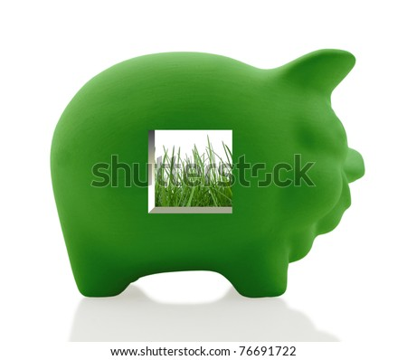 Traditional piggy bank shows how to save money by going green