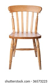 A traditional pine kitchen chair isolate on white