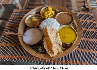 Traditional platter from Assam (Assamese Thali), India