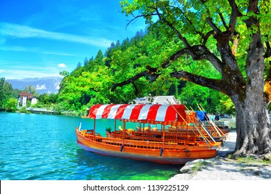 Traditional Pletna boat on the lake. In the background is the famous old castle on the cliff.Bled lake Slovenia,Europe