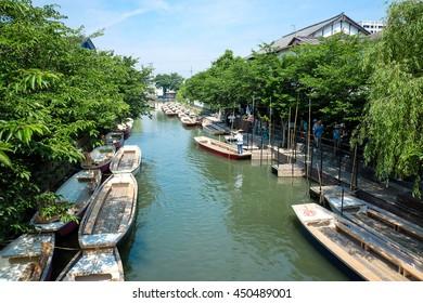Traditional poled boat, parked at deck in Yanagawa, Fukuoka, Japan.