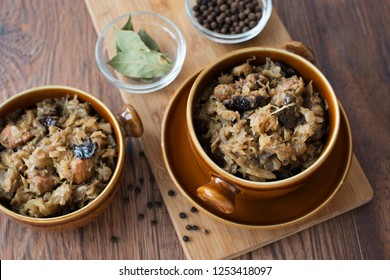 Traditional Polish bigos. Cabbage with meat, mushrooms and dried plums