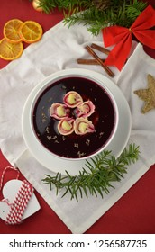 Traditional Polish christmas borsch with dumplings
