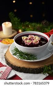 Traditional Polish Christmas borscht