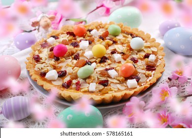 traditional polish easter butterscotch cake called mazurek with caramel layer,nuts and dried fruits