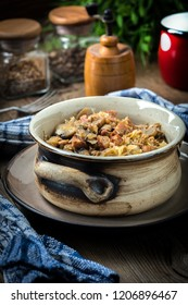 Traditional polish sauerkraut (bigos) with mushrooms and meat. Shallow depth of field.