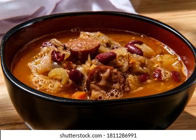 Traditional Polish sauerkraut kielbasa sausage and bean soup