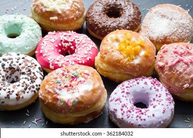 Traditional polish sweets doughnuts closeup