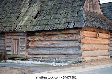Traditional polish wooden hut from Zakopane region. Tatra mountains area