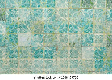 Traditional Portuguese azulejo tiles on the building in Lisbon, Portugal. Background texture.