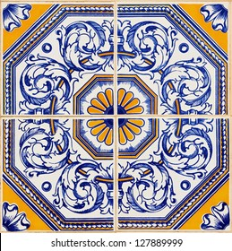 Traditional Portuguese azulejos, painted ceramic tilework