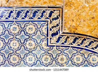 Traditional Portuguese blue tiles covering a wall at Santa Luzia Belvedere in Lisbon, Portugal