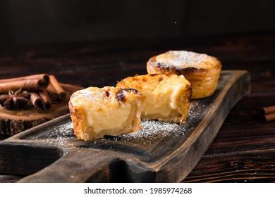 traditional portuguese cakes pasteis de nata. Typical Portuguese custard pies Pastel de Nata or Pastel de Belem
