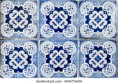 Traditional portuguese ceramic decorative tile Azulejos. Lisbon, Portugal. Abstract background.