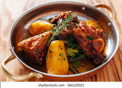 traditional Portuguese dish roasted lamb and potatoes