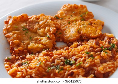 traditional Portuguese dish/codfish with rice and beans/bacalhau