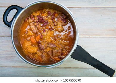 Traditional Portuguese feijoada in the cooking pot