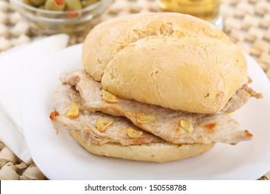"traditional portuguese pork beef sandwich ""bifana"""