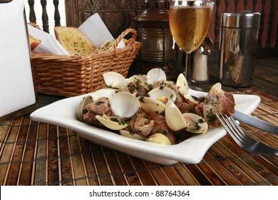 Traditional Portuguese pork & clams or Porco a Alentejana