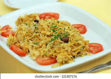 Traditional Portuguese salted cod dish - bacalhau -  on a plate