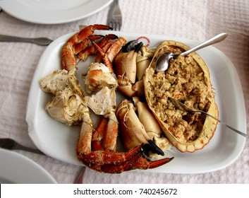 Traditional Portuguese seafood dish brown crab (Cancer pagurus), known as Sapateira Recheada