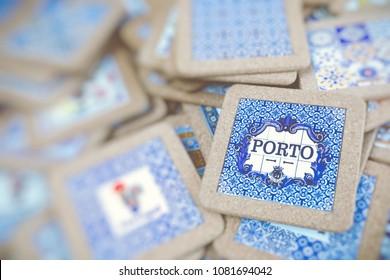 Traditional portuguese souvenirs for sale at Porto market (Mercado do Bolhao). Portugal