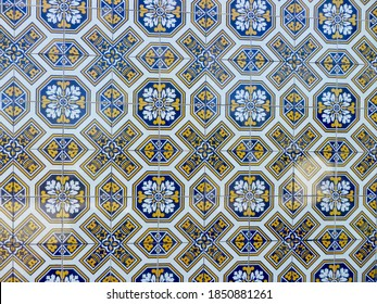 Traditional Portuguese tilework in a symmetrical pattern