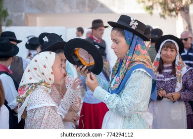 traditional potugese Dance at the Saturday Market in the town of Loule in the Algarve in the south of Portugal in Europe. Portugal, Algarve, October, 2016,