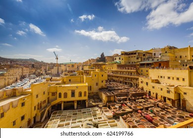 Traditional processing leather tannery in Fes, Morocco