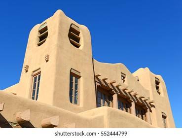 Traditional Pueblo style Adobe Architecture usually in earth tones, referred to as Old Santa Fe Style, characteristic of buildings in New Mexico, USA