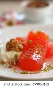 traditional pumpkin dessert, recipe with lime, from south of Turkey, selective focus, kirecte kabak tatlisi