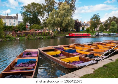 Traditional punts on the River Cam in Cambridge, England