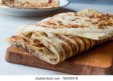 Traditional Qutab or Gozleme made with Dough, Minced Meat or Cheese