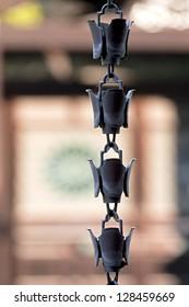 Traditional rain chain detail, Toji Temple, Kyoto