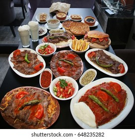Traditional Ramadan foods on the restaurant table