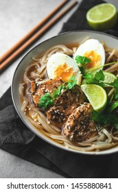 Traditional ramen soup with eggs, asian food